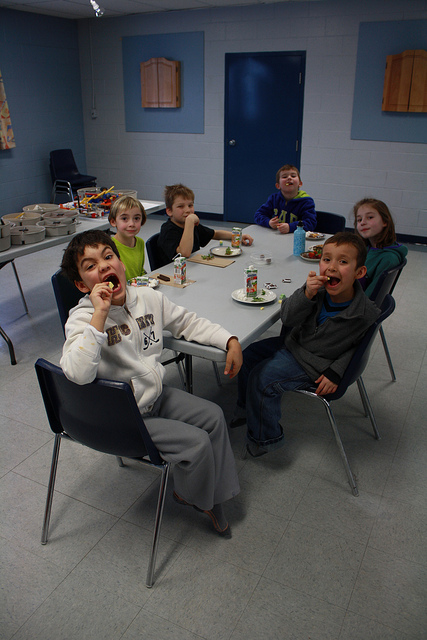 Allendale LEGO Kids goofing off during snack time.